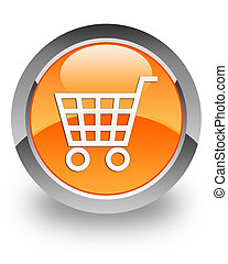 E-commerce glossy icon - E-commerce icon on glossy orange...