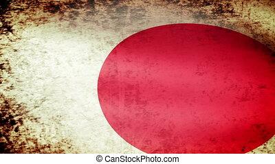 Japan Flag Waving, grunge look