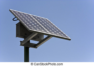 Conserve energy with a solar panel - A solar panel faces a...