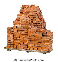 Stack of red clay bricks on white background