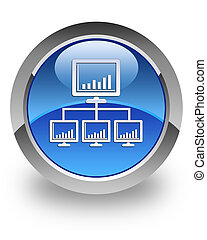 Network glossy icon - Network icon on glossy blue round...