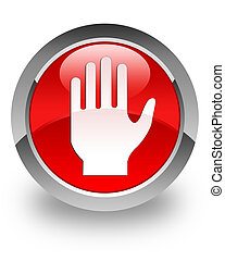 Stop glossy icon - Stop icon on glossy red round button