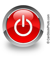 Power Off icon on glossy red round button
