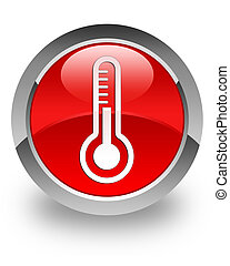 Thermometer glossy icon - Thermometer icon on glossy red...