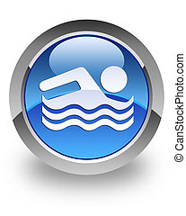 Swimming pool glossy icon - Swimming pool icon on glossy...