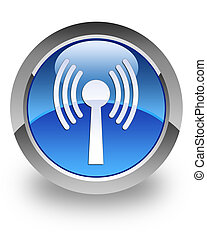 WLAN glossy icon - WLAN icon on glossy blue round button