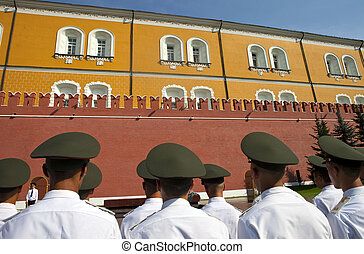 Russian Soldiers outside the Kremlin Walls, Moscow