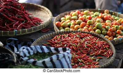 market, spices, vegetables