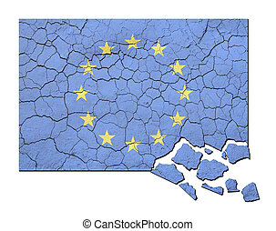 Crumbling EU Flag - Cracked, faded and crumbling European...