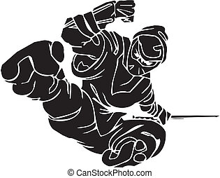 Ninja fighter - vector illustration Vinyl-ready - Ninja...