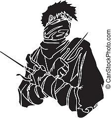 Ninja fighter - vector illustration Vinyl-ready - Ninja...
