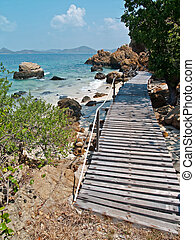 Seaside Wood Bridge - Seaside wood bridge in Ko Kham island,...