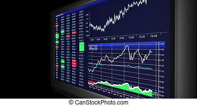TV Illustration: business graphics on TV, the stock exchange...
