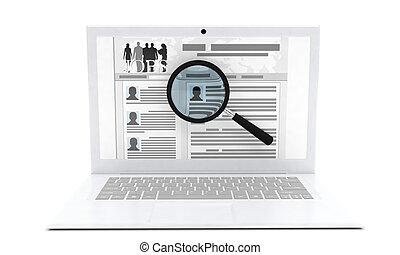 3d, illustration, isolated, white background, resume,...
