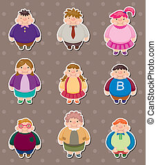 Cartoon Fat people stickers