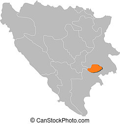 Map of Bosnia and Herzegovina, Bosnian Podrinje highlighted...