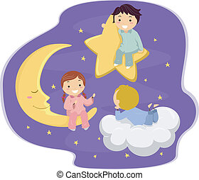 Starry Night - Illustration of Kids in the Sky
