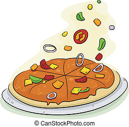 Pizza Toppings - Illustration of a Pizza Being Filled with...