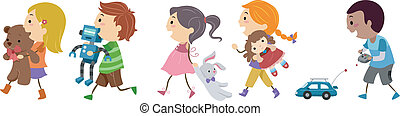 Kids Carrying Toys - Illustration of Kids Carrying Toys