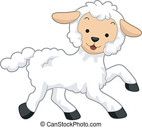 Lamb - Illustration Featuring a Happy Lamb