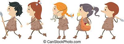 Stone Age Kids - Illustration of Kids Dressed Like People...