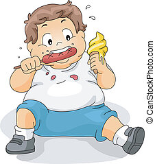 Overweight Boy Eating - Illustration of an Overweight Boy...