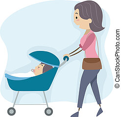 Mother Taking Her Baby for a Walk - Illustration of a Mother...