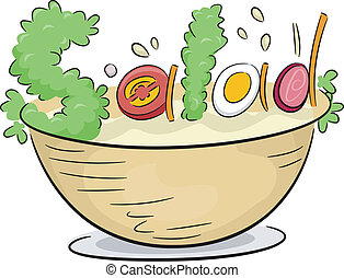 Vegetable Salad - Text Illustration Depicting Vegetable...