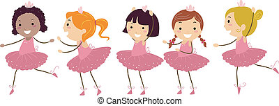 Ballet Girls - Illustration of Girls Doing Ballet