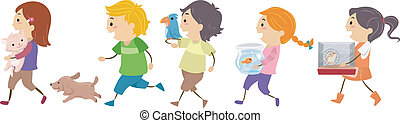Kids Pets - Illustration of Kids Carrying Pets