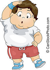 Overweight Boy Exercising - Illustration of an Overweight...