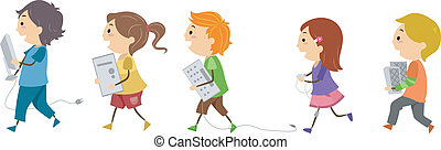 Computer Kids - Illustration of Kids Carrying Computer...