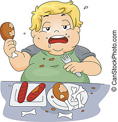 Binge Eating - Illustration of an Overweight Boy Binge...
