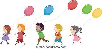 crianças, balões