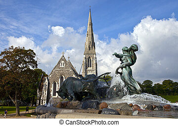 Saint Albans Church and Gefion Fountain, Copenhagen - Saint...