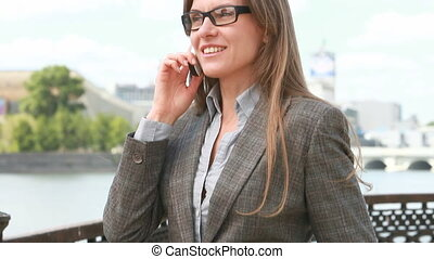 Telephone negotiations - Beautiful businesswoman talking on...