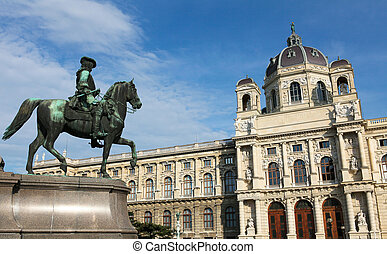 Kunsthistorisches Museum in Vienna - Statue in Front of the...