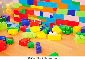 wall made of toy blocks