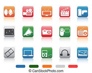 button media tools icon set