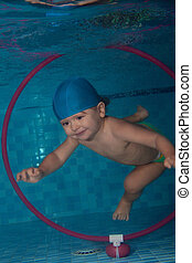 diving in the hoop underwater