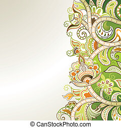 Abstract Lime Green Floral - Illustration of abstract floral...