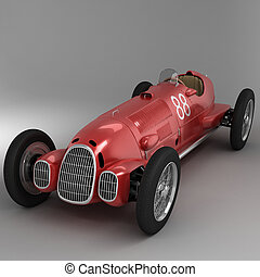 Old Sport Car, Red - Antique Italian racing car