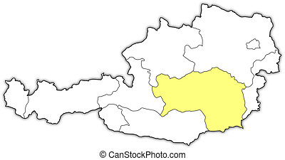 Map of Austria, Styria highlighted
