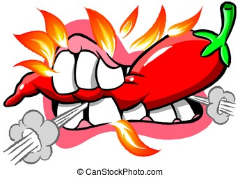 Hot Chili - cartoon mouth biting into fiery hot chili pepper...