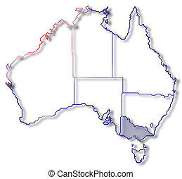 Map of Australia, Victoria highlighted - Political map of...