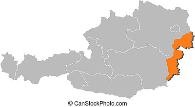 Map of Austria, Burgenland highlighted