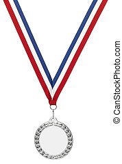 Silver olympics medal blank with clipping path