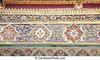 Wall of Temple of the Emerald Buddh - Grand Palace, Bangkok,...
