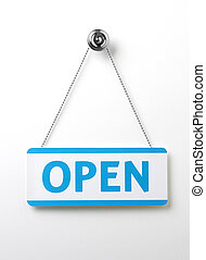 a process blue open door sign on a silver chain on a white...