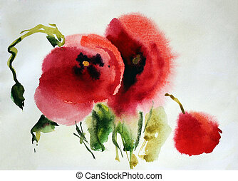 Original watercolor illustration of Poppies